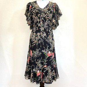 Anthropologie Silk Floral 1920s Style Dress & Slip
